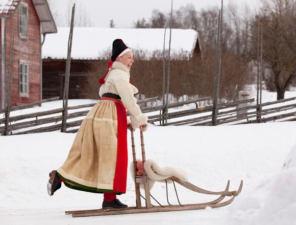 """Kick-sledge, the most loved way of transport for both children and adult. It is great fun!'' Text and photo by Laila Duran of Folklore Fashion"