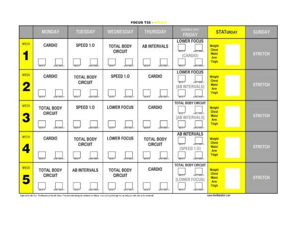 T25 Free Printable Calendars | Workouts | Pinterest | Free printable ...