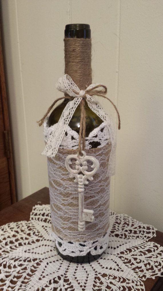 Rustic Wine Bottle Vase with burlap lace by WhyWastetheWine, $20.00