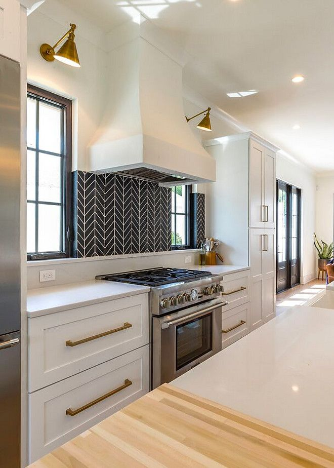Exceptional Kitchen Features Black Herringbone Backsplash Tile With White Grout