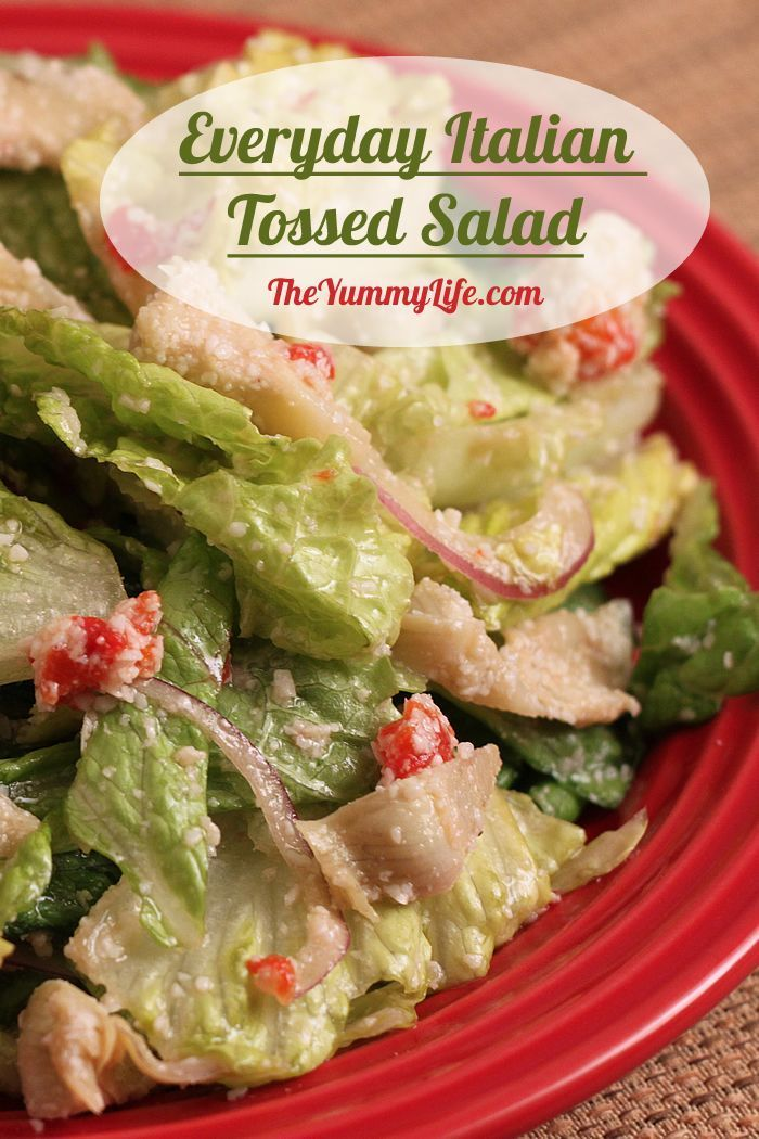Everyday Italian Tossed Salad is a go-to recipe to pair with any meal. It's a copycat of very popular salad served at The Pasta House Company in St. Louis. From TheYummyLife.com