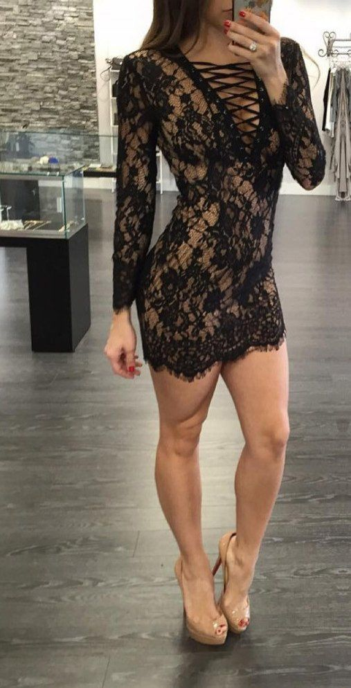 Nude and Black lace dress   the illusion of flesh under lace here is very seductive and will have all eyes on your at your party! Paired with nude heels for the ultimate party outfit!