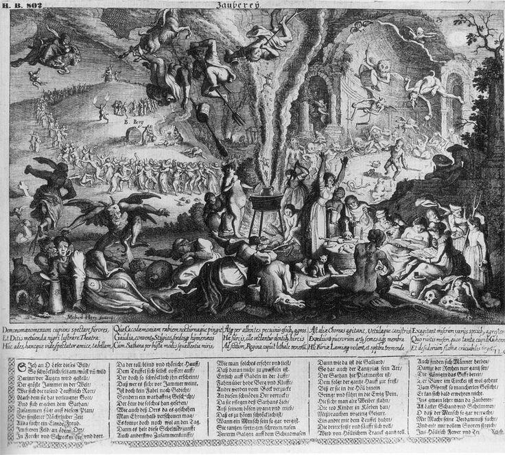 Zayberÿ. Flugblatt met gravure van Matthäus Merian I, 1626. Op deze Duitse nieuwsbrief uit 1626 is een sabbatscène te zien in de open lucht. In het midden staat een kleine kookpot die immense rookwolken uitbraakt. We herkennen dergelijke wolken uit de Heksenbijeenkomst van Jacques de Gheyn II. Maar ook uit prenten van Bruegel. Net als de kookpot in het centrum van de voorstelling.
