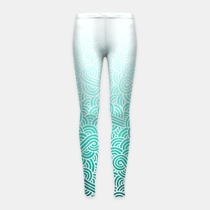 Ombre turquoise blue and white swirls doodles Girl's Leggings by @savousepate on Live Heroes #leggings #leggins #pants #kidsclothing #kidsapparel #drawing #pattern #abstract #white #blue #mint #cyan #turquoise #aquamarine #amazonite #caribbean #teal #ombre #gradient #vibrant