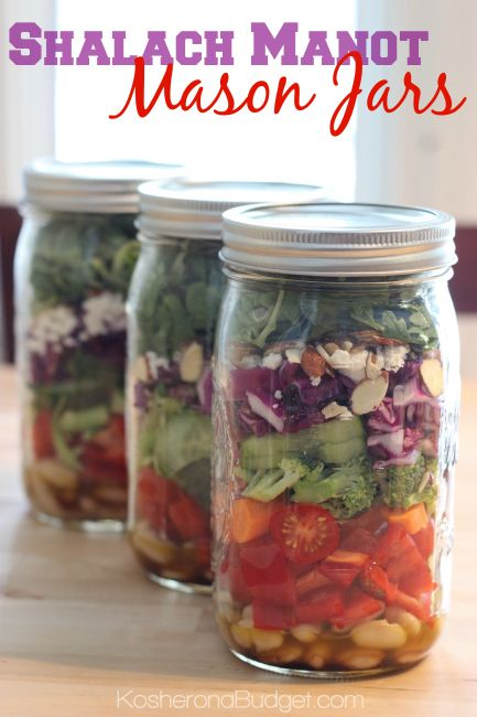 Shalach Manot / Mishloach Manot Mason Jar Salads! How great is this idea? It's colorful, healthful and beautiful! Everyone will love getting it and you won't spend hours baking. I'm so excited to make these for #Purim.
