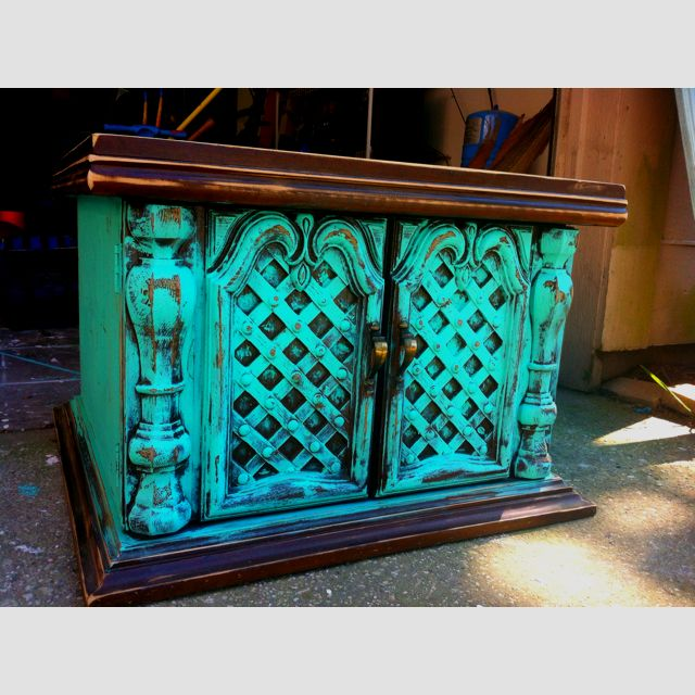 Captivating Antique Distressed Turquoise Wood End Table Shabby Chic Furniture