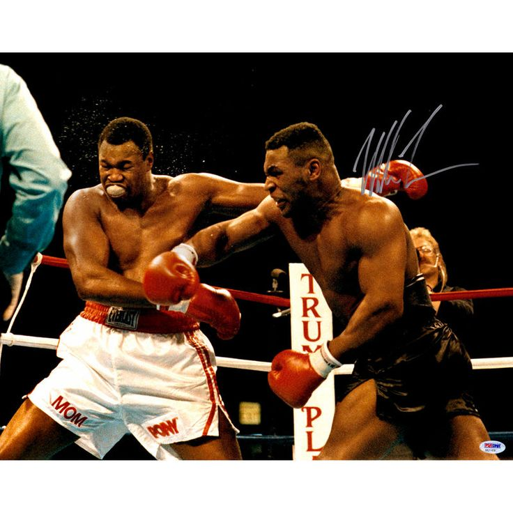 "Mike Tyson Fanatics Authentic Autographed 16"" x 20"" Punching Larry Holmes Photograph"
