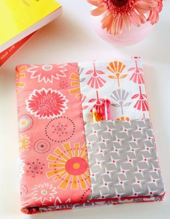 For a quick gift, cover a standard spiral notebook with fabric.