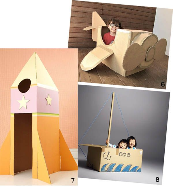 Ideas for encouraging creativity with a cardboard box. #Cardboard creations: Airplane/ Rocket/ Boat