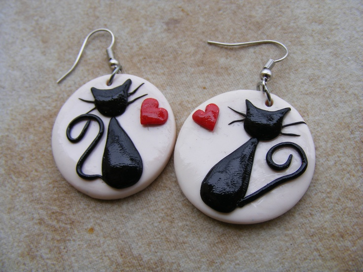 Cute cats in love - earrings made of polymer clay