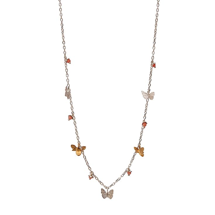 Inspired by nature, this very delicate necklace features butterflies, bees and pink flower charms attached onto a 43cm sterling silver chain. The bee charms are made of 22ct gold vermeil, adding a pop of colour to the necklace while the butterflies are a lovely sterling silver. This simple yet beautiful necklace is a fantastic gift for a nature lover or a child who is learning about the wonderful creatures of the insect world.