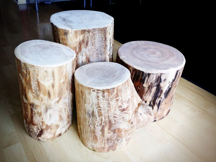 Ash stump stools.  Debarked and scrubbed down with a wire brush wheel on an angle grinder. Belt sanded top.  Unfinished.