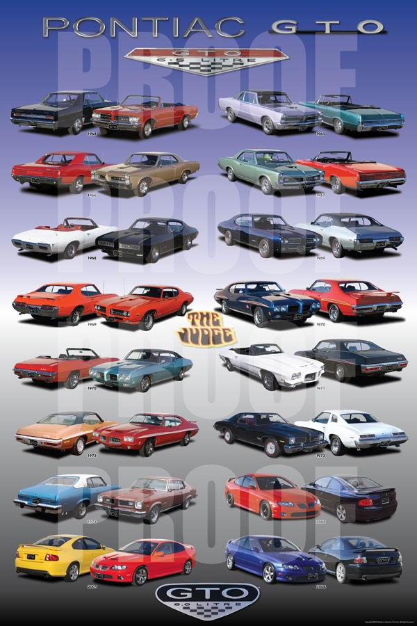 The GTO Poster that every GTO enthusiast has been wanting can now be purchased at gtoposter.com  This poster beautifully displays every year of the Pontiac GTO and the story of the poster's making can be read at http://norcalgtoclub.com/gto-poster/