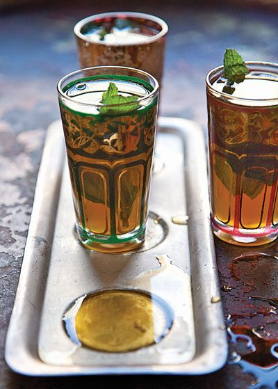 Refreshing and sweet, mint tea is served throughout North Africa.