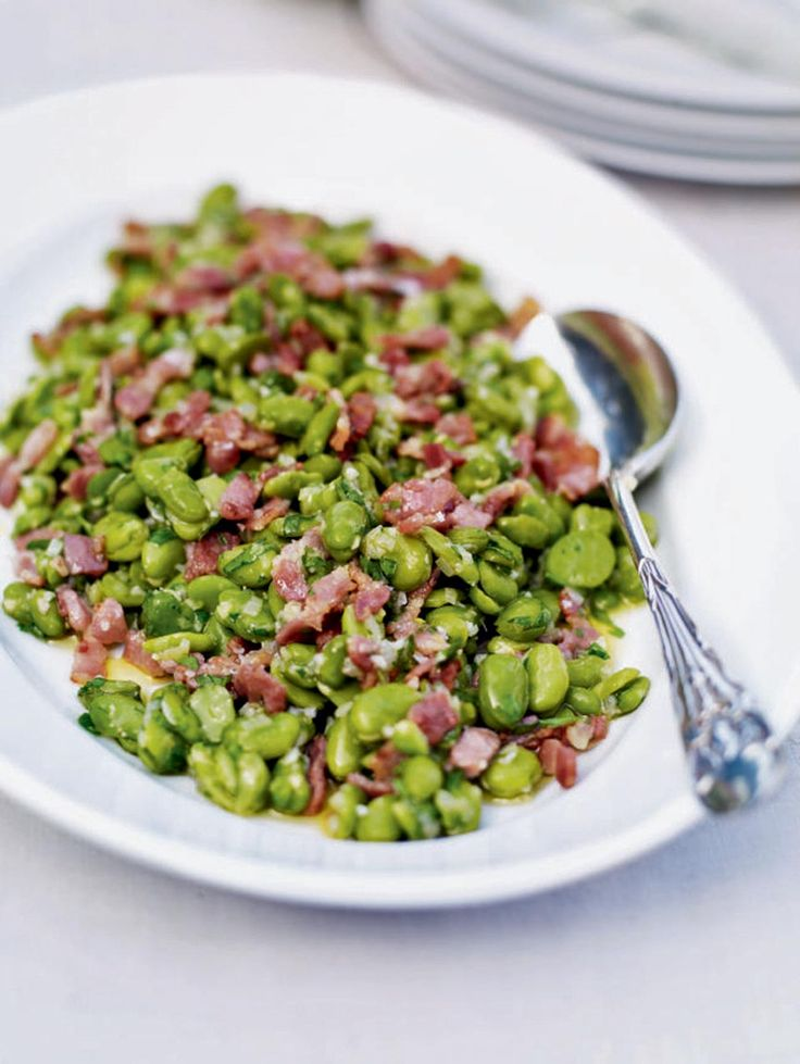 This warm broad bean and bacon salad recipe is great served with hunks of fresh crusty white bread.