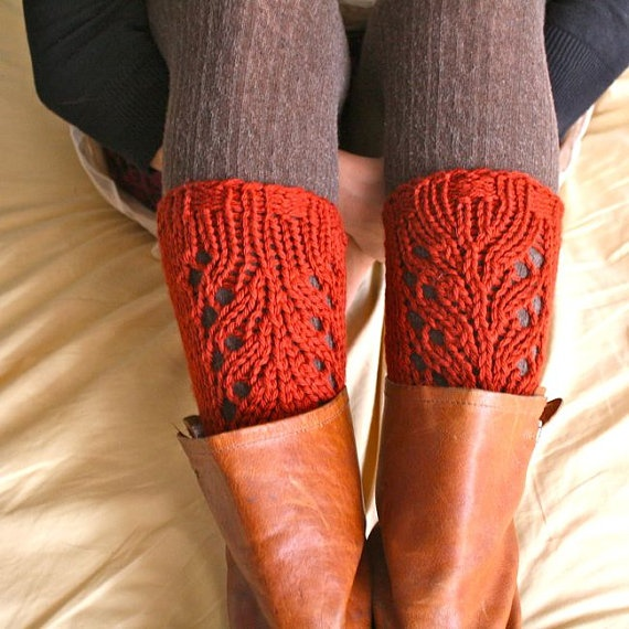 Lacefield Knit Legwarmers - Boot Toppers - Rust Rooibos Red