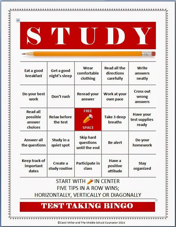 The Middle School Counselor: Test Taking and Study Skills Bingo