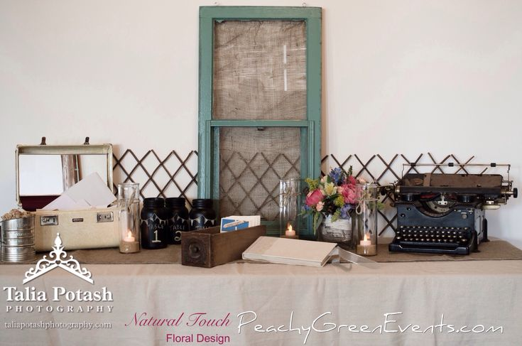 Arlington Gallery Winnipeg Guest Book Table with Rented Vintage Typewriter and Decor from Peachy Green Events
