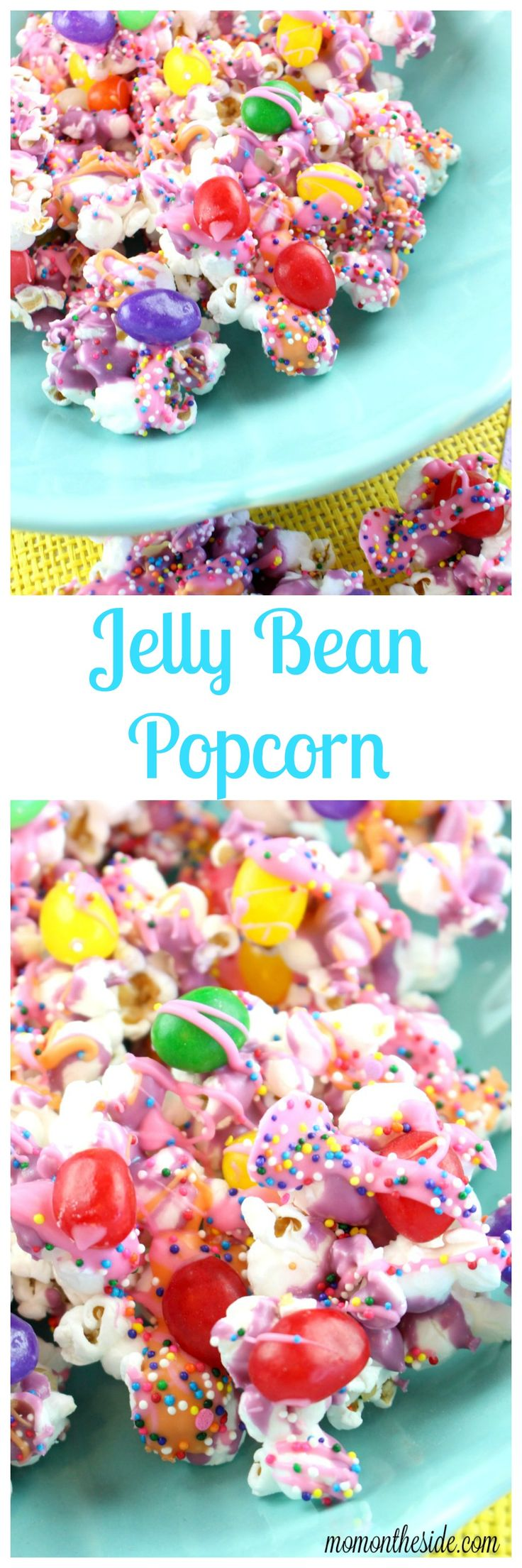 Easy, fun, and colorful Easter dessert! This Jelly Bean Popcorn is the perfect spring treat for kids and adults at your Easter Party. via @momontheside