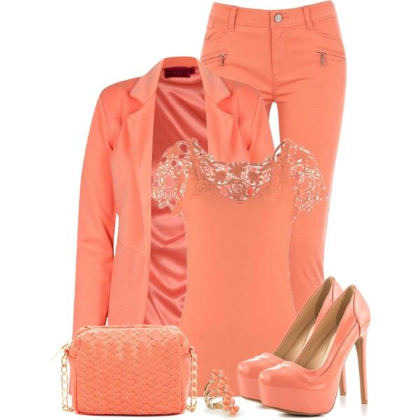 """Monochromatic: Coral"" by callmeadie on Polyvore"