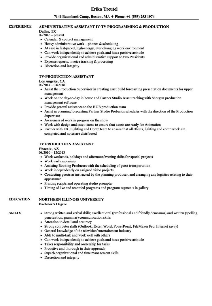 Top 20 Production assistant Resume (With images) Resume