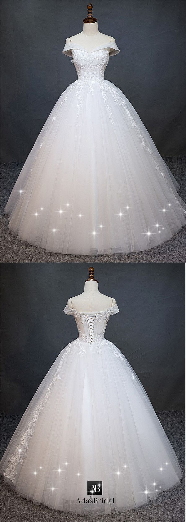 Charming tulle off-the-shoulder neckline natural waist ball gown ...