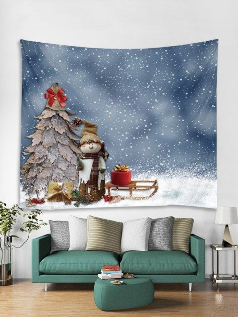 Snowman Christmas Tree Tapestry Art Decoration Christmas deco