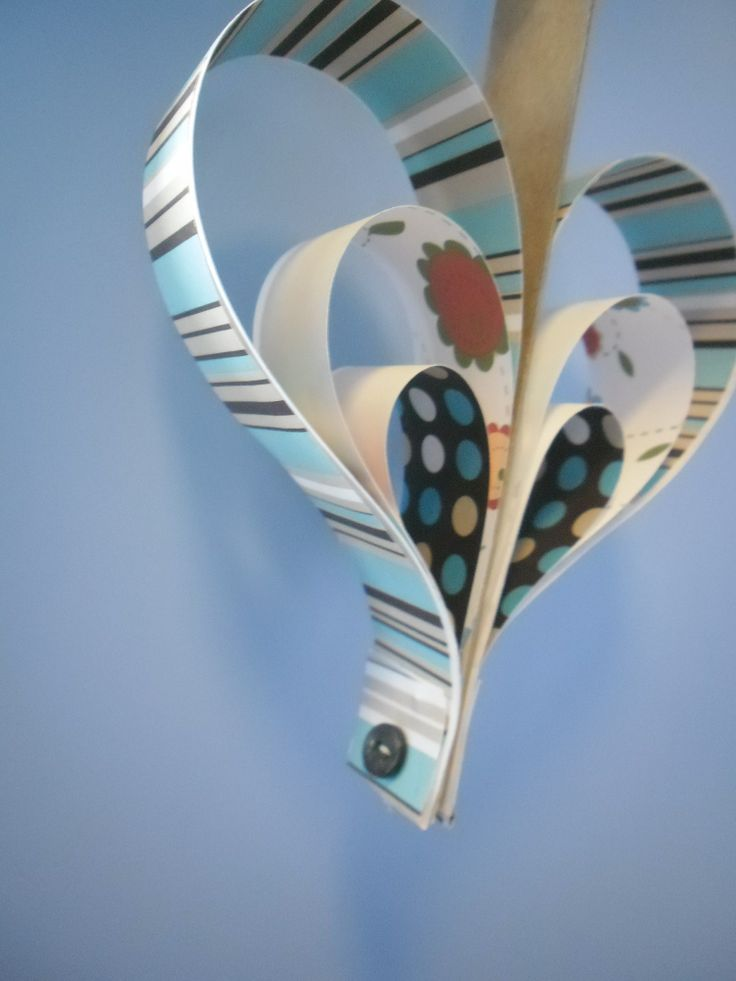 hanging heart made from retro print paper stock