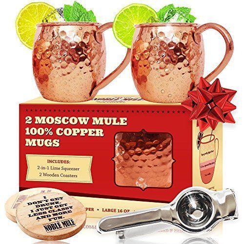 Perfected Moscow Mule Copper Mugs Set of 2 100% Copper Cups - FREE DOUBLE BONUS #NobleMule