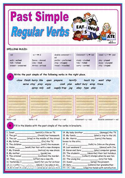 Past tense regular verbs worksheet for kids » English lessons ...