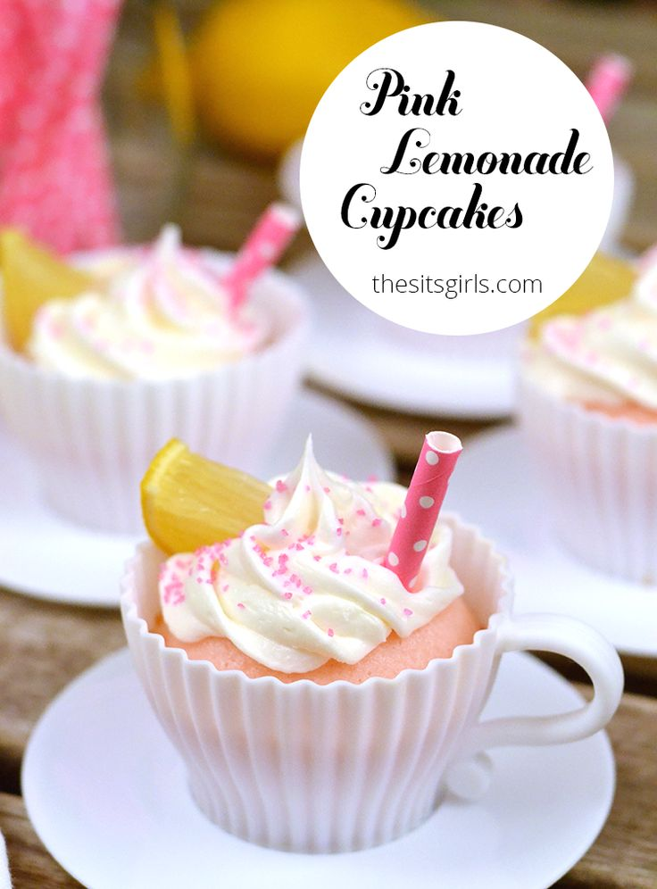 Everything you could want in a dessert, in one cute cupcake....♥♥...   Pink lemonade cupcakes the perfect spring dessert.
