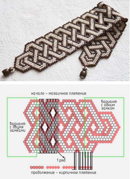 Bead weaving bracelet free pattern / Плетем мозаичным плетением браслет из бисера — понятная схема для двух разных вариантов застежки