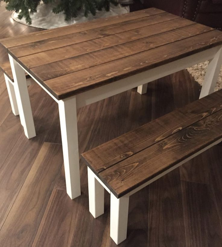 Children farmhouse table and benches in 2020 diy