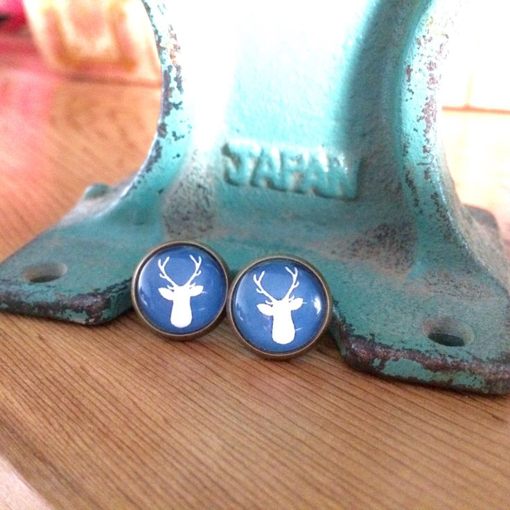 Perfect for hunting season!  https://www.etsy.com/ca/listing/463215591/blue-deer-head-post-earrings