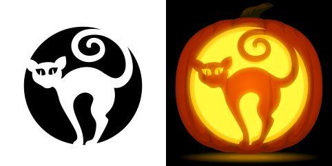 Cat pumpkin carving stencil. Free PDF pattern to download and print at http://pumpkinstencils.org/download/cat-pumpkin-stencil/