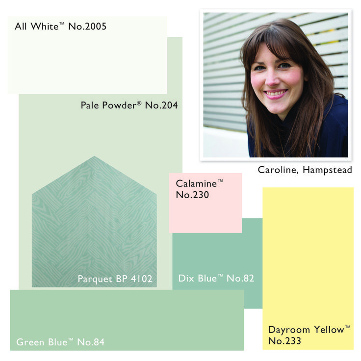 Farrow and Ball colour scheme: Pale Powder, Calamine, Dayroom Yellow, Dix Blue, Green Blue