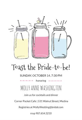 Funky Mason Jar printable invitation template. Customize, add text and photos. Print, download, send online or order printed! #invitations #printable #diy #template #bridalshower #bridal #party