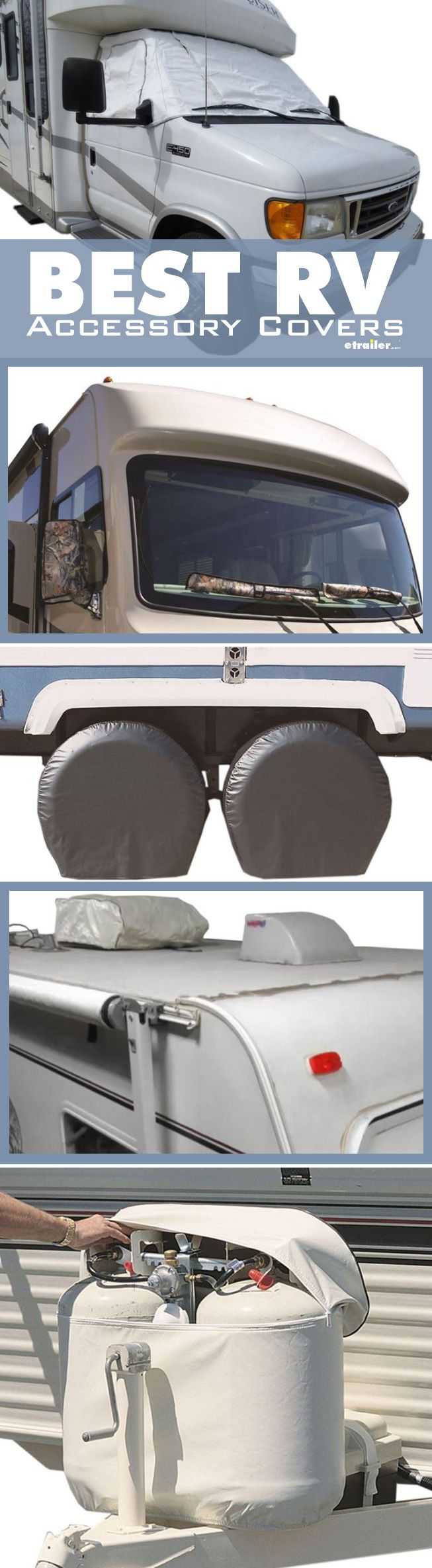In addition to covering your camper while in storage, there are a number of covers available for other purposes and parts of your camper, such as the windshield, mirrors, wiper blades, tires, air conditioner, and propane tanks. These accessory covers will help protect and prolong the life of your camper's components.