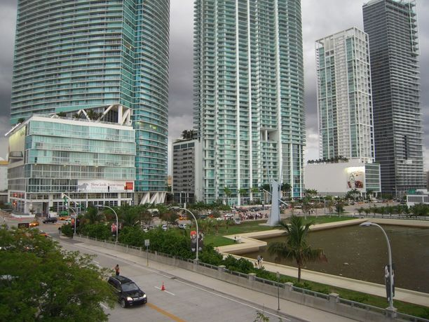 AMERICAN AIRLINES ARENA, Miami, Florida — by Jeannette Ramos. This is the view from the Sport and entertainment arena located in Downtown Miami.