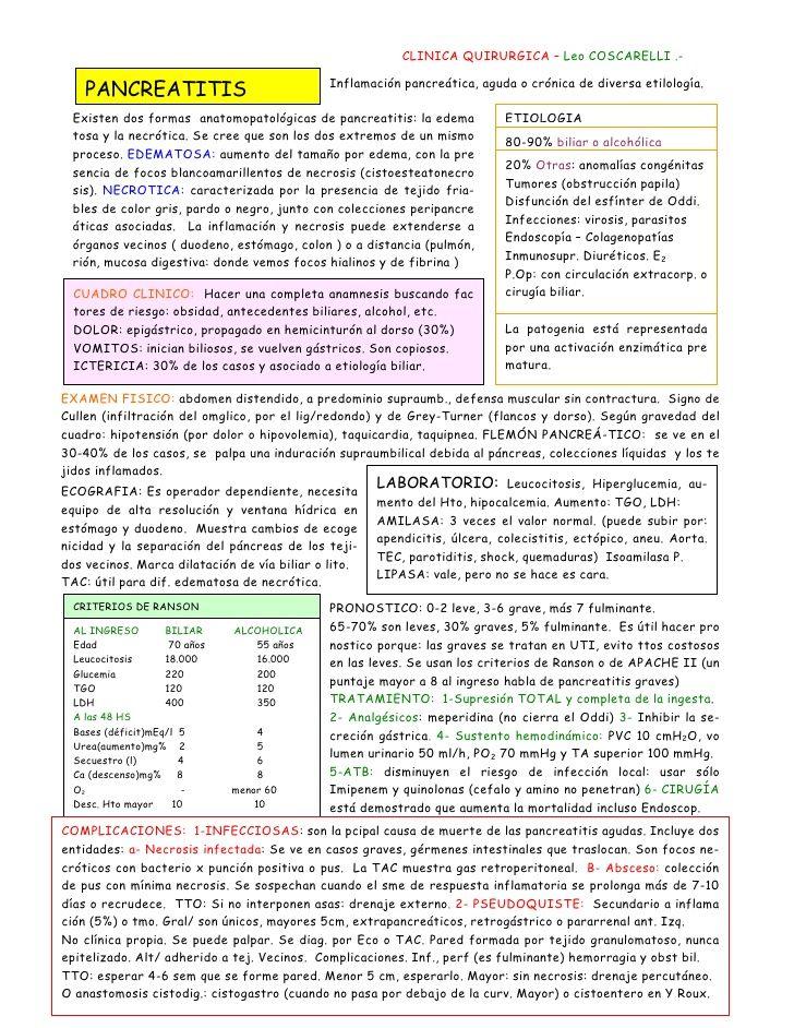 CLINICA QUIRURGICA – Leo COSCARELLI .-                                             Inflamación pancreática, aguda o crónic...