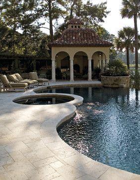 Mediterranean Style, pool, outdoor fireplace, backyard