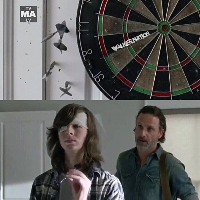 Season 7 E5 Carl Missing That Dart Board