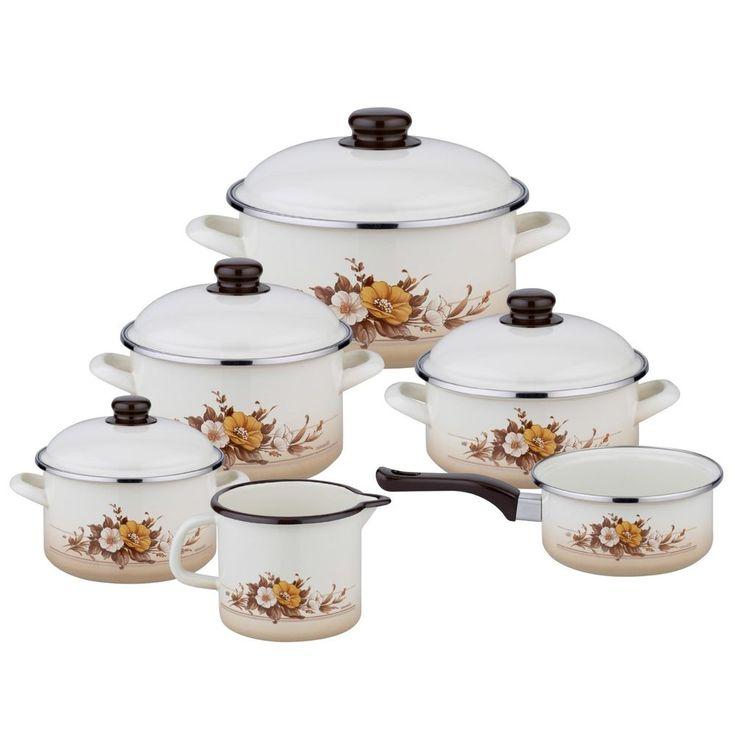 Enamel Floral Cookware Set 6 Pc Vintage Kitchen Cooking Milk Pots