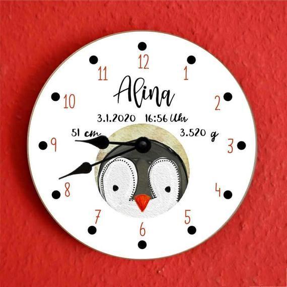 Personalised New Born Baby Christening Penguin Clock