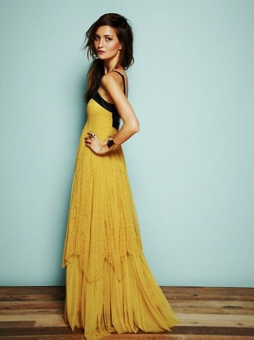 Love everything about this dress: Long Dresses, Colors Combos, Maxi Dresses, Yellow Dresses, Free People, The Dresses, Lace Dresses, Mustard Yellow, Lace Gowns