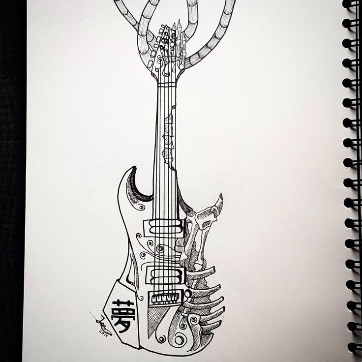 A bone electric guitar guitar drawing pencil drawings