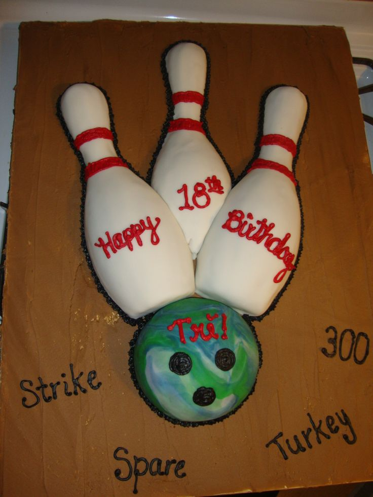 Bowling Cake - I used the wilton 3d bowling pin pans for the pins and the wilton ball pan for the ball. This cake is covered in fondant.