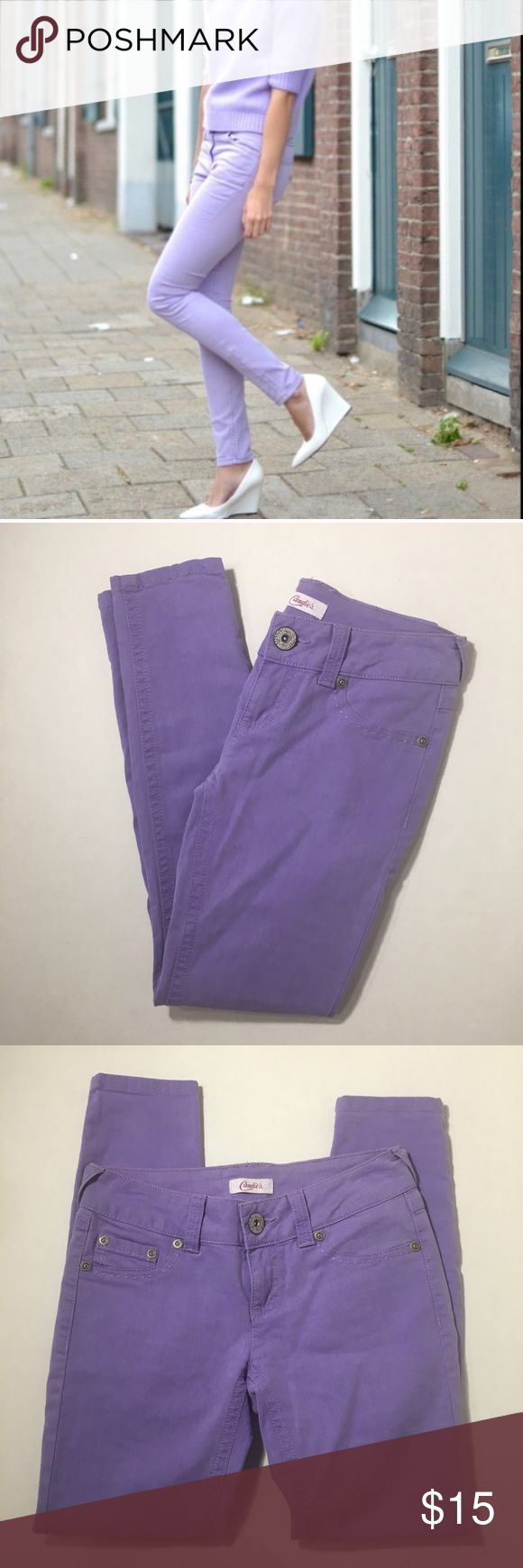 NWOT Candies Purple Skinny Jeans Pants Size 0 New without tags, never worn. Fit to the ankle, skinny style. Cute thick stitching. Perfect color for spring. Size 0. Candie's Jeans Skinny
