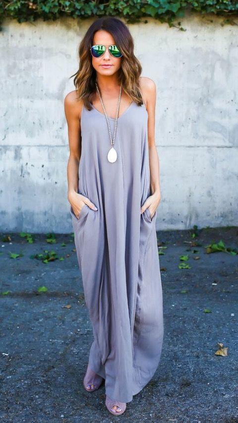 Amazingly cute summer dress #summer #long dress #pocket dress