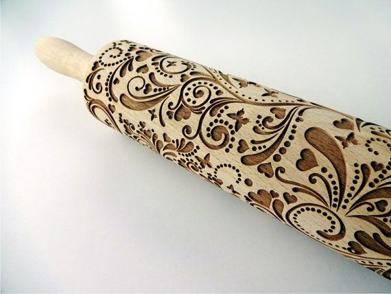 SPRING Embossing Rolling Pin. FLOWERS pattern. Engraved rolling pin with flowers and butterflies for embossed cookies. Pottery